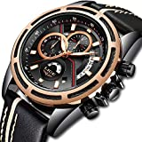 LIGE Herren Uhren Mode Chronograph Analogue Quartz Wasserdicht Business Schwarz Zifferblatt Armbanduhr mit Leder Armband 9880