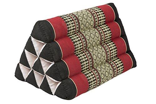 Cuscino triangolare, in stile tailandese, 33x20 cm, rosso-nero