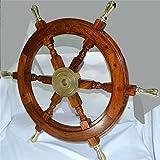 60,96 cm Deko Schiffssteuerrad - SIX Speichen Handgemachte-Holz mit Messing. C-3078