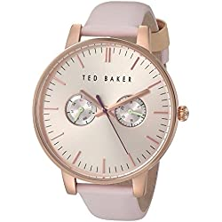 Ted Baker Women's 'Sport' Quartz Stainless Steel and Leather Dress Watch, Color:Pink (Model: 10030747)