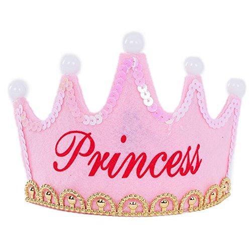 OFT Prinzessin / Prinz Königskrone Krone Diadem Tiara Geburtstag Kopfschmuck mit Led Lampe für Kinder (pink Princess) (Prinz Kronen Prinzessin Und)