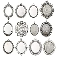 Youdiyla 10 Pendant Trays, 30x40mm, Blank Oval Cabochons Base Setting Bezel Frame Metal Cameo for Photo Pendant Jewelry Making (Antique Silver-HM278)