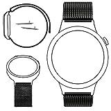 Huawei Watch 18mm Bande de montre, PUGO TOP Acier inoxydable Mesh Bracelet Replacement Band bracelet avec Unique Aimant de verrouillage pour Huawei Watch 18mm (Noir, 18mm)