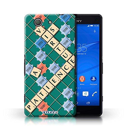 Kobalt® Imprimé Etui / Coque pour Sony Xperia Z3 Compact / Jours Heureux conception / Série Mots de Scrabble Patience Vertu