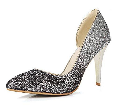 AgooLar Femme Couleur Unie Tissu à Paillette Stylet Tire Pointu Chaussures Légeres Argent