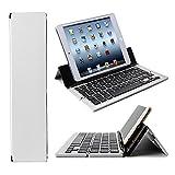 Faltbare Aluminium Bluetooth Tastatur Tablet für Sony Xperia Tablet Z2 SGP511 - F18 Silber