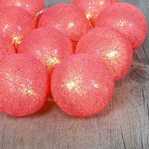 Guirlande 10 boules LED - 165 x D 6 cm - Corail