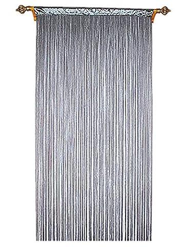 90x 200cm Gris Rideau fils Spaghetti pour Home Decor et séparation avec rayures Creative Design Pompon