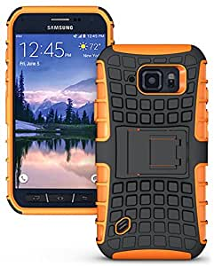 Heartly Flip Kick Stand Spider Hard Dual Rugged Armor Hybrid Bumper Back Case Cover for Samsung Galaxy S6 Active SM-G890 - Mobile Orange