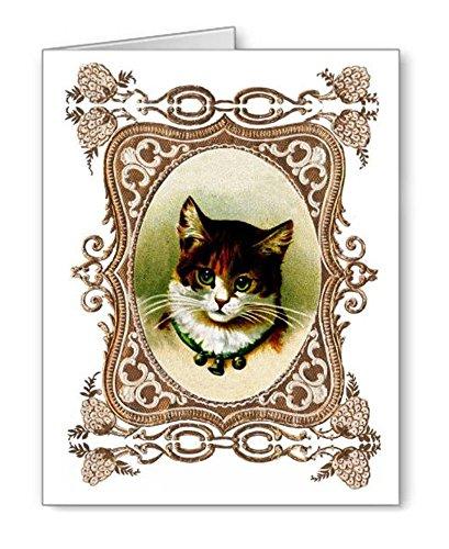 Grün Eyed Jingle Bell Katze Note cards Set 8Stück mit Umschlägen (Index Karten Baby)