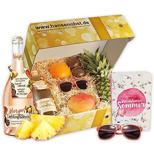 Sommerbox Wildblumensommer mit Fruchtsecco, Buch, Sonnenbrille und leckerem Obst als Geschenk für heiße Sommertage