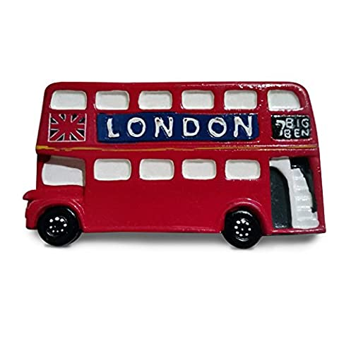 # 1 avec aimant pour réfrigérateur – London Bus – Souvenir Motif bus londonien – Hop sur/ON Hop Off – traditionnel rouge Londres Bus – Aimant (Frigo Door Bar)
