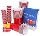 Ultimate Beer Pong Party Paket 100 Rote Partybecher inkl. 100 Red Cup Shots, 6 Bälle & Regelwerk Beer Pong Party Cups Extra Starke Plastikbecher