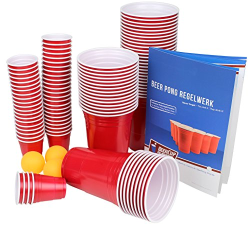 Ultimate Beer Pong Party Paket | 50 Rote Partybecher | inkl. 50 Red Cup Shots, 3 Bälle & Regelwerk | Beer Pong Party Cups | Extra Starke | Plastikbecher (50 Becher, 50 Shots & 3 Bälle) -