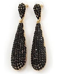 En color negro Juego de pendientes de cristales de Swarovski en forma de lágrima en bañados en oro - 7,5 cm, longitud