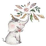 Wandtattoo Kinderzimmer Aquarell Fröhlicher Elefant mit Blumen Wandsticker
