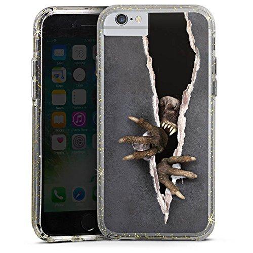 Apple iPhone 7 Bumper Hülle Bumper Case Glitzer Hülle Monster Krallen Animal Bumper Case Glitzer gold