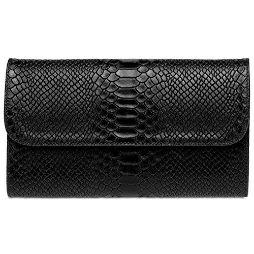 CASPAR TL722 Damen echt Leder Envelope Clutch Tasche Abendtasche mit Kroko Prägung, Farbe:schwarz;Größe:One Size -