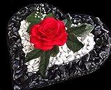 Grabschmuck Herzgitter mit schwarz poliertem Kies, weißem Zierkies und roter Rose 35,0x35,0x4,0cm Grabschmuck Grabherz Grabgesteck Herz Gabione Engel Pflanzschale Friedhof Pflanzschale Zierkies