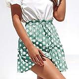 Mujer Faldas Plisada Lunares, Mujeres Falda Corto Mini para Fiesta Verano Vintage Volantes Falda Elegantes Skirt Verde S