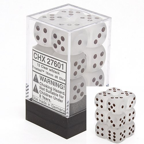 Chessex Dice d6 Sets: Frosted Clear with White - 16mm Six Sided Die (12) Block of Dice by Chessex