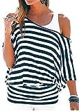 Uniquestyle Damen Gestreiftes T-Shirt Sommer Kurzarm Oberteile 2 in 1 Strandshirt (Blau, XXL)