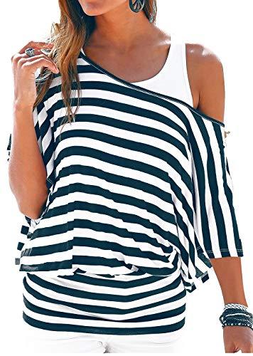 Uniquestyle Damen Gestreiftes T-Shirt Sommer Kurzarm Oberteile 2 in 1 Strandshirt (Blau, XXL) - Sleeve Loose Fit Shirt