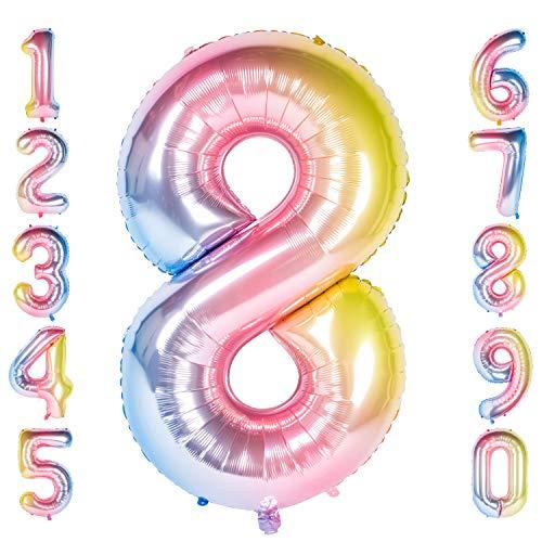 CHANGZHONG 40-Zoll 0-9 in Regenbogen Nummer Foil Ballons Helium Zahlenballon Luftballon Riesenzahl Party Hochzeit Kindergeburtstag Geburtstag (Number 8)