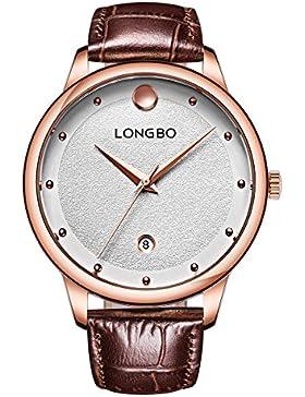 geschmackvoll einzigartig sanfte Männer großes Gesicht Quarz braun echtes Leder Uhr für männliche und Studenten...