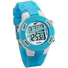 JewelryWe Relojes para Niños Niñas Reloj Deportivo Digital Para Aire Libre Reloj Infantil Azul, 3ATM