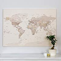 Push Pin World Map - Pin Board with Push Pins - Mounted Canvas Wall Art - Premium Quality - 3 Sizes to Choose (up to 150 x 100 cm) - Desert Sand Color (Detailed)