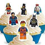 12 x Vorgeschnittene und Essbare Aufrecht Stehende Lego Movie Kuchen Topper (Tortenaufleger, Bedruckte Oblaten, Oblatenaufleger)