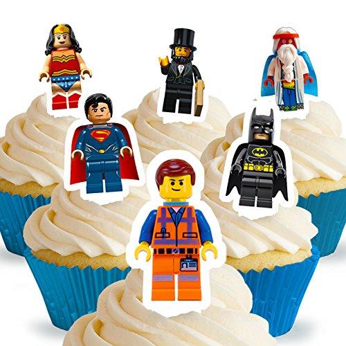 12 x Vorgeschnittene und Essbare Aufrecht Stehende Lego Movie Kuchen Topper (Tortenaufleger, Bedruckte Oblaten, Oblatenaufleger) (Wars Dekorationen Star Cupcake)