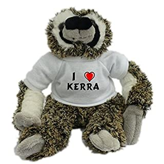 Plush Sloth Toy with I love Kerra T-Shirt (first name/surname/nickname)