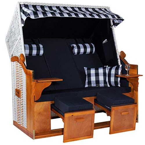 Möbelcreative Strandkorb Ostsee ROYAL XXL Volllieger - Extra Breit - 150 cm in blau weiß inklusive Schutzhülle, ideal für Garten und Terrasse | Garten > Strandkörbe | Holz - Polyester | Möbelcreative