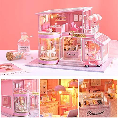 Letway DIY Kabinen Set, 3D Stereo Montageloft, INS Dessert Shop, Pink Sweet Color, Karussell Thema, Musik Bewegung, 11 LED Lichter, Geburtstagsgeschenk Für Kleine Mädchen, 32 24 23cm stylish
