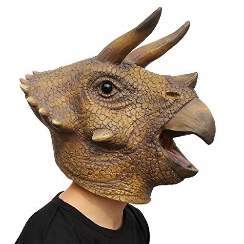 (Neuheit Halloween Kostüm Party Tierkopf Triceratops der Dinosaurier Masken Drachen Dino)
