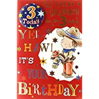"Great Grandson 3rd Birthday Card & Badge - 3 Today Cowboy, Horse & Stars 9"" x 6"""