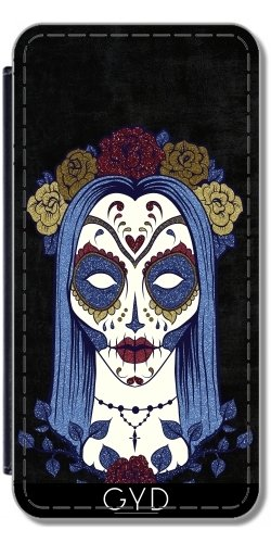 Leder Flip Case Tasche Hülle für Apple iPhone 6 Plus / 6S Plus - Dunkel Gothic Rose Sugar Skull by Gatterwe Lederoptik