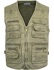 Belloo Herren Outdoor Sport Weste mit 16 Taschen, in Farbe Grün, Khaki und Grau
