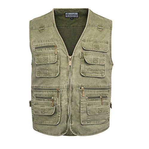 Belloo Herren Outdoor Sport Weste mit 16 Taschen, Farbe Grün, Gr. 2XL(EU: L)