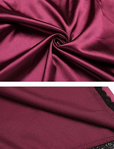 Avidlove Satin Nachthemd Damen Negligee mit Spitze Lingerie Silk Reizwäsche mit Spaghetti Träger Neckholder Dessous Set lang mini kurz in 4 Farben mit Gr. 34-44/XS-XXL D-4-Dunkel Rot