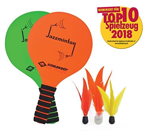 Schildkröt Jazzminton Set, 2 Schläger, 3 Birdies, LED Ball für das Spiel bei Nacht, das coole neue Beachball Set, toller Ballflug, der Spass für Jung und Alt, 970155