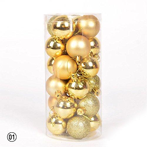 Calistous - palle ornamentali glitterate per albero di natale, decorazione per festa nuziale - 3 cm cad. -  24 pezzi golden