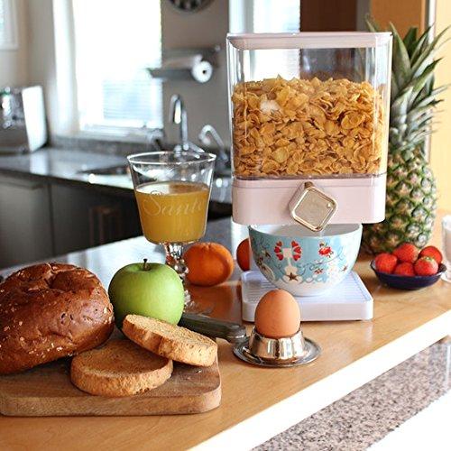 Dispensador de cereales individual, doble o triple, hermético, con bandeja antiderrames integrada para alimentos secos, cereales, comida de mascotas y dulces para un almacenamiento fresco y limpio, de ENYAA White Single