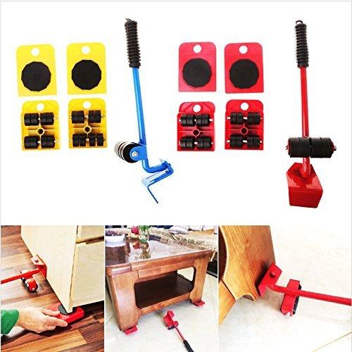 Preisvergleich Produktbild OKMINIOK Möbelbewegungsrolle und 5 Stück bewegliche Werkzeuge max bis zu 330 kg,  360 Grad drehbare Pads,  einfach umstellen und das Leben neu anordnen,  Damen,  rot