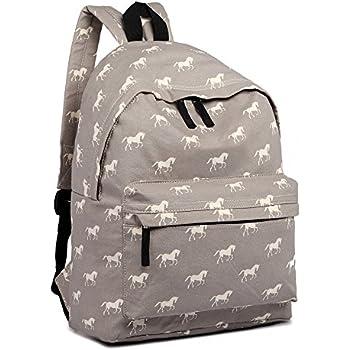 The Olive House® Horse Print Canvas Rucksack Backpack Bag Navy Blue