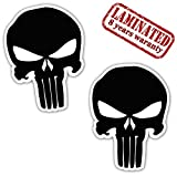 Skino 2 Stück Vinyl Aufkleber Autoaufkleber Punisher Skull Schädel Totenkopf Schwarz Knochen Horror Stickers Auto Moto Motorrad Fahrrad Helm Fenster Tuning B 27