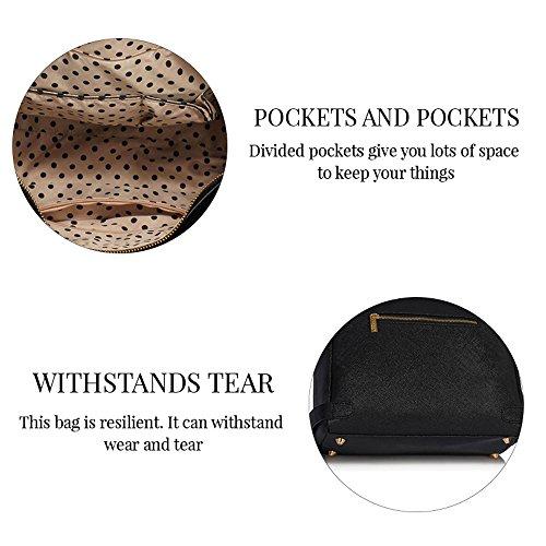 Neu Frauen Entwerfer Handtaschen Damen imitat Leder Schulter für Leinentrage Greifer Taschen Z Schwarz/Weiß 2