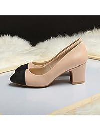 Jqdyl Tacones Colores mezclados Tacón alto Raíz cuadrada Zapatos, Rosa, 35